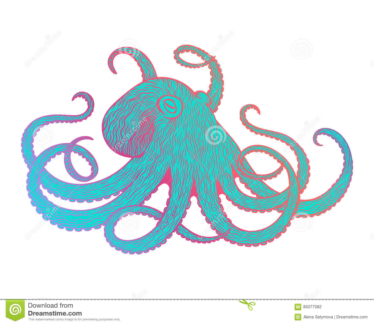 Shirt design octopus - Vector Illustration Of Octopus Line Art Style Design For T Shirt Posters