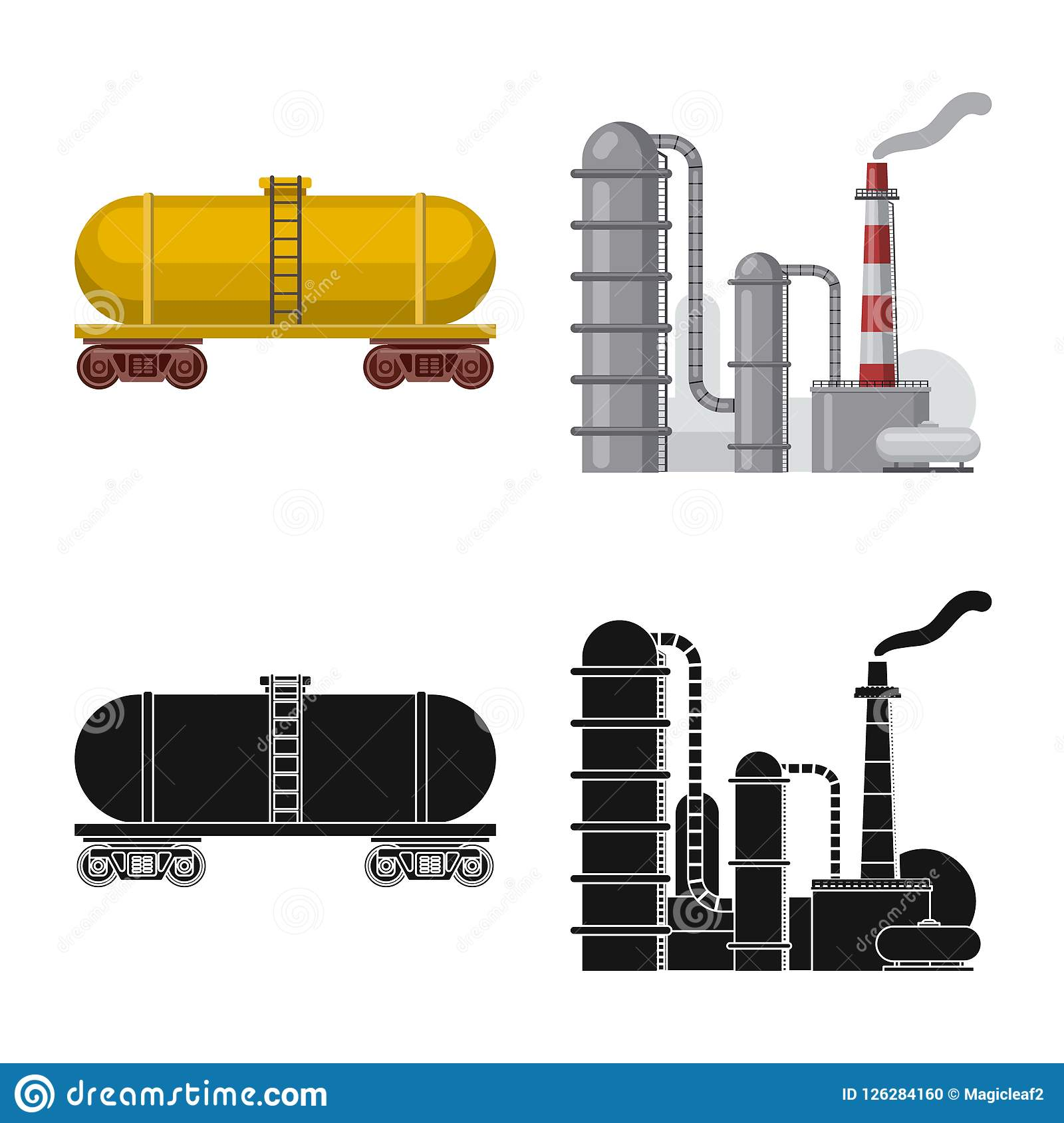 Vector Design Of Oil And Gas Icon Set Of Oil And Petrol Stock