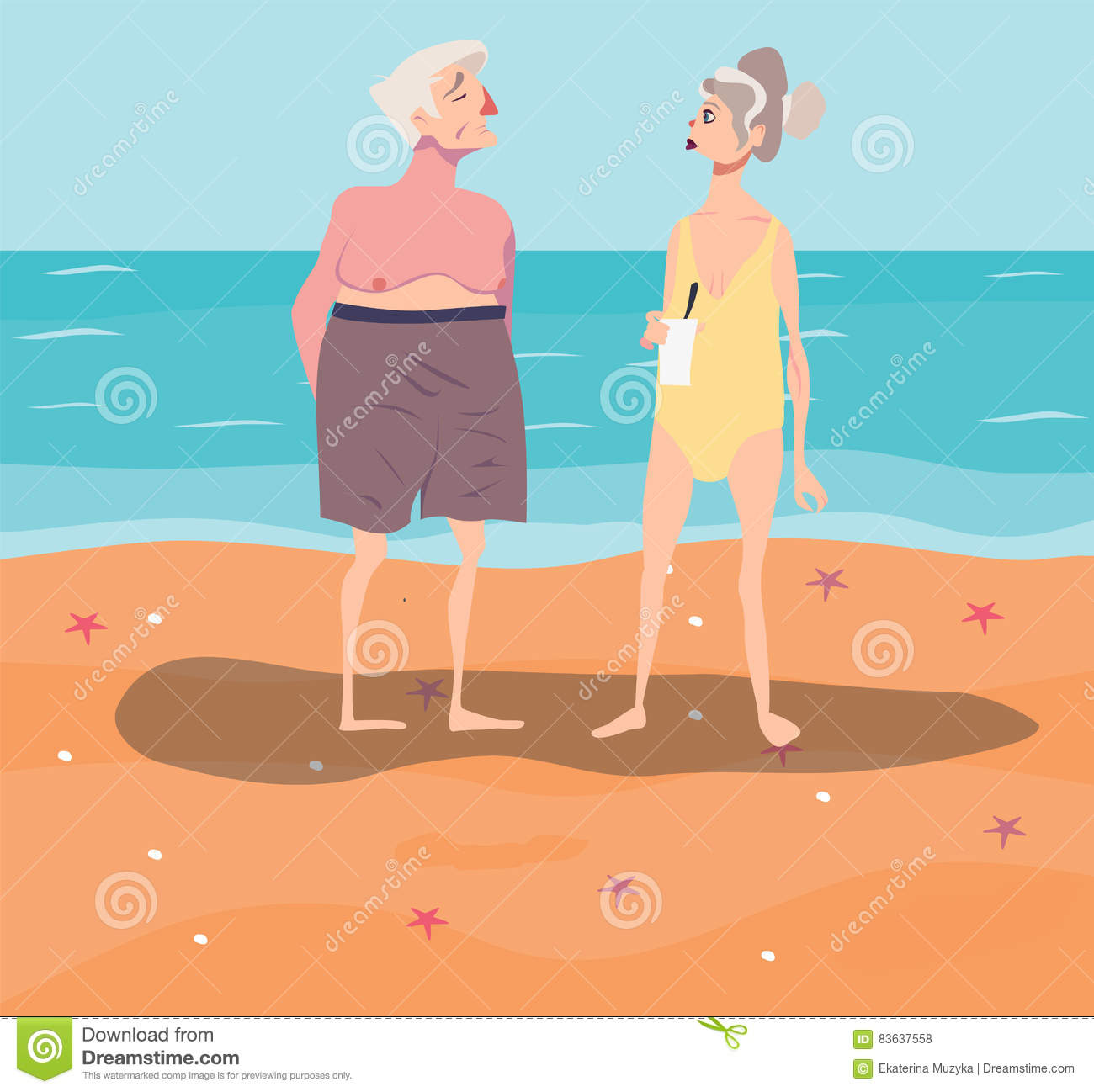 Vector Illustration Of Old-aged Couple Having Rest On ...