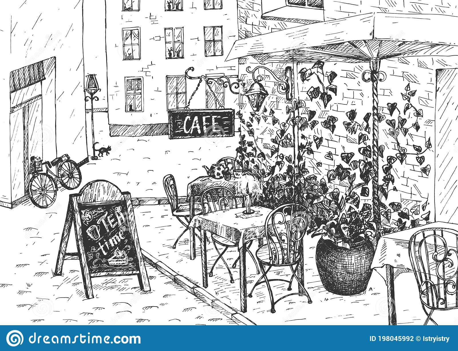 Vintage Cafe Exterior Street View Stock Vector Illustration Of Cafeteria Building 198045992