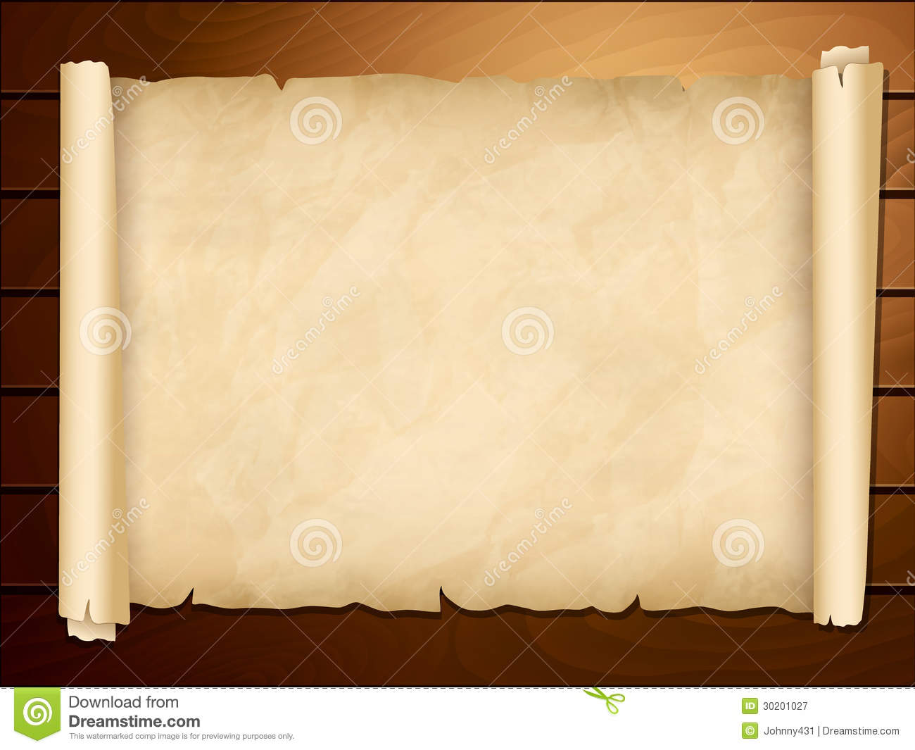 Old Papyrus In The Wooden Background Stock Vector Image