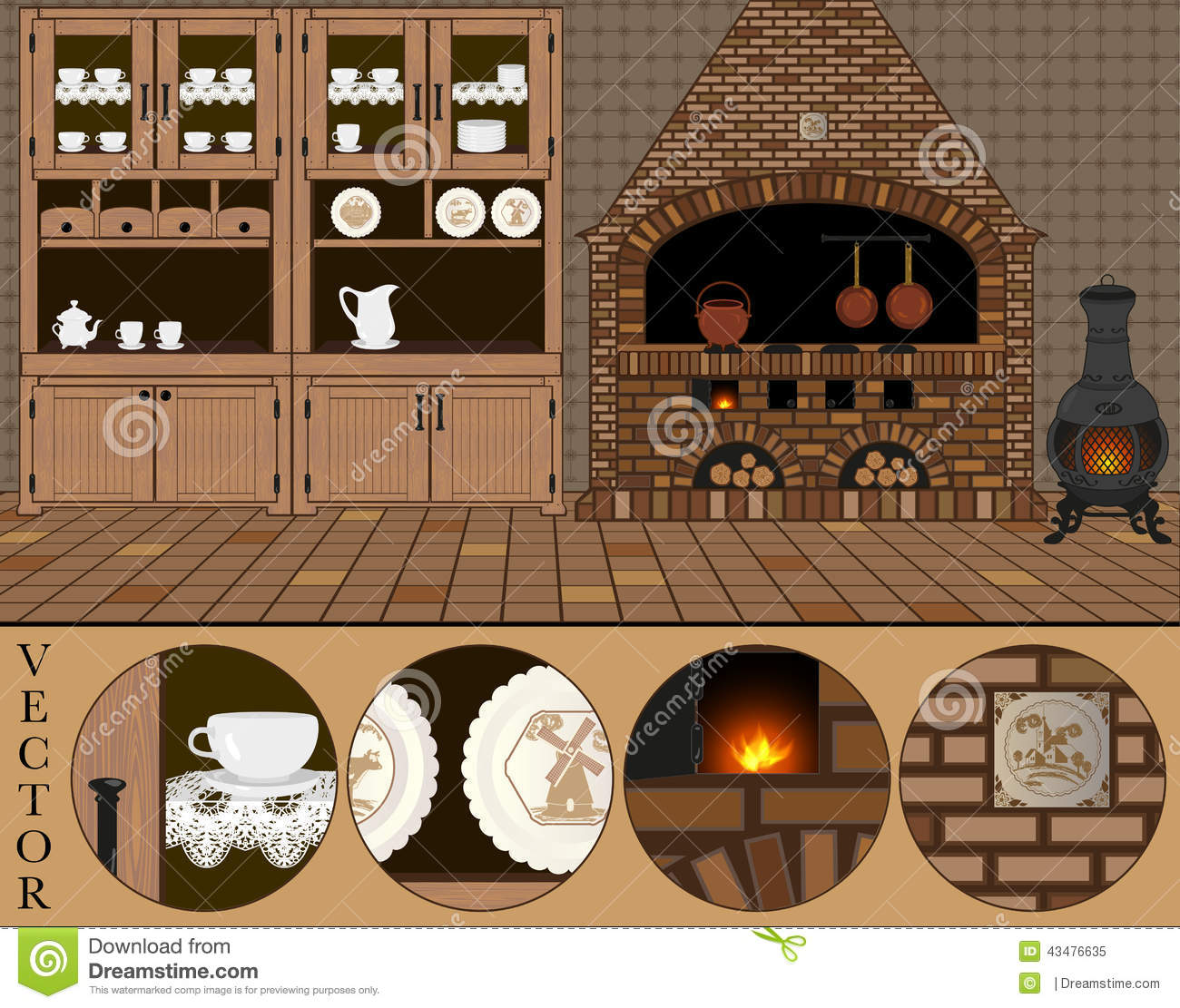 Vector Illustration Of An Old Traditional Dutch Kitchen Cartoon Vector