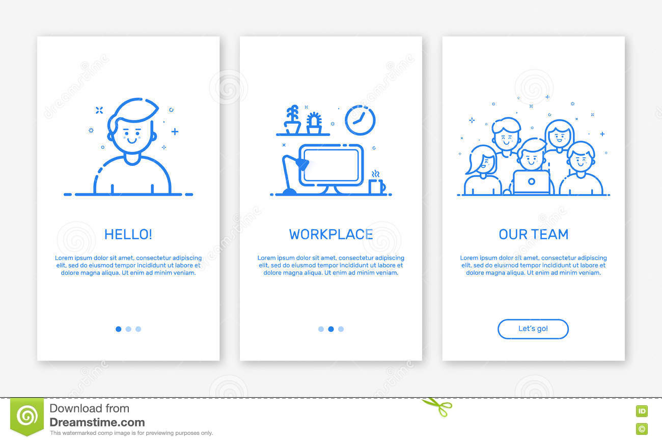 Vector Drawing Lines App : Vector illustration of onboarding app screens and web