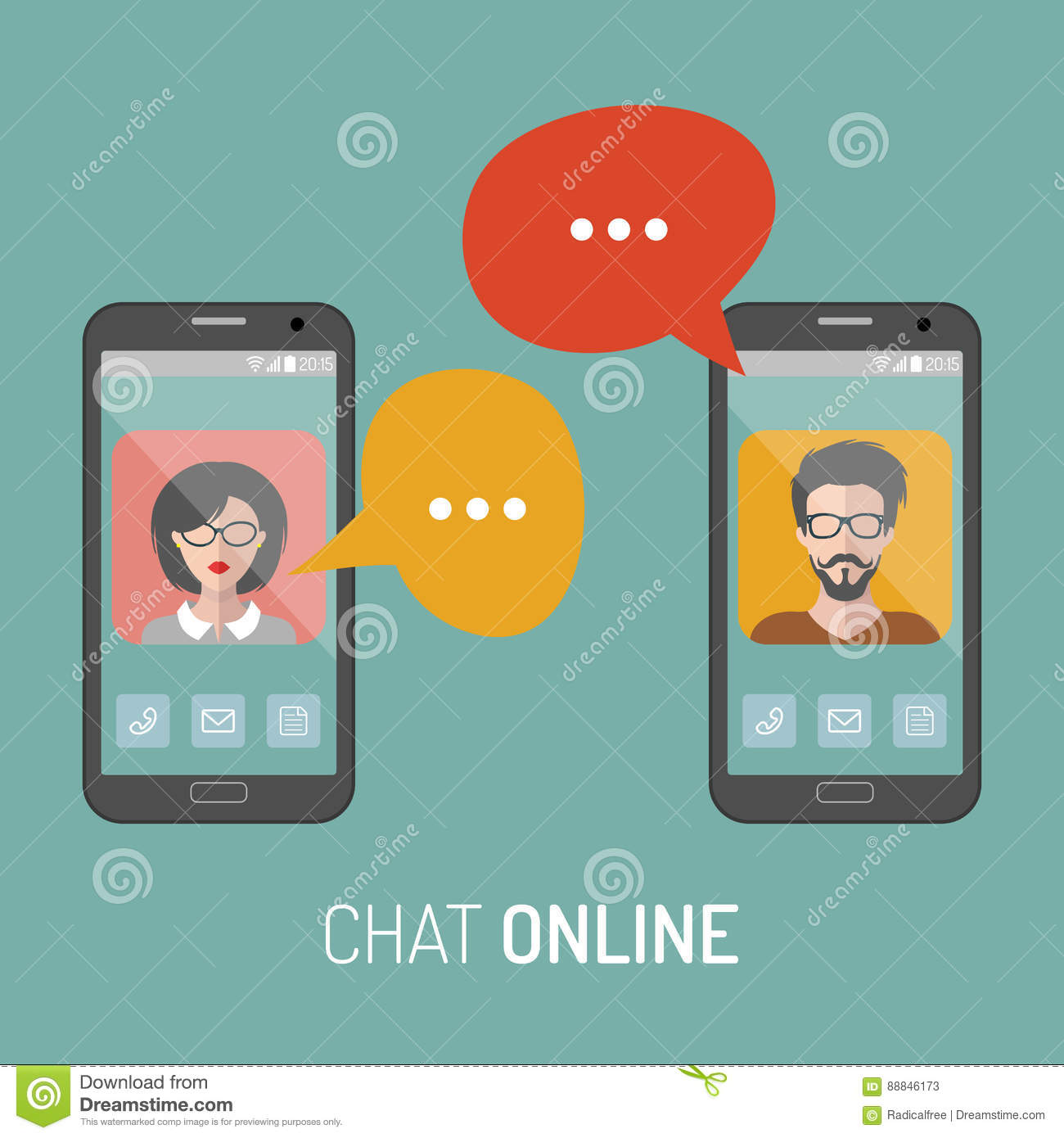 Online dating chat between a man and woman