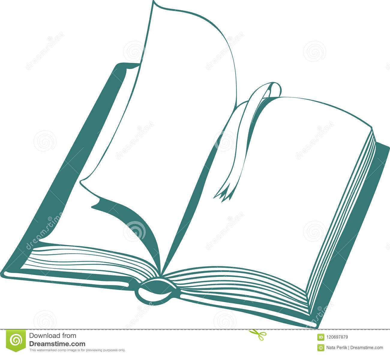 Vector Illustration With Open Book And Bookmark Stock Vector