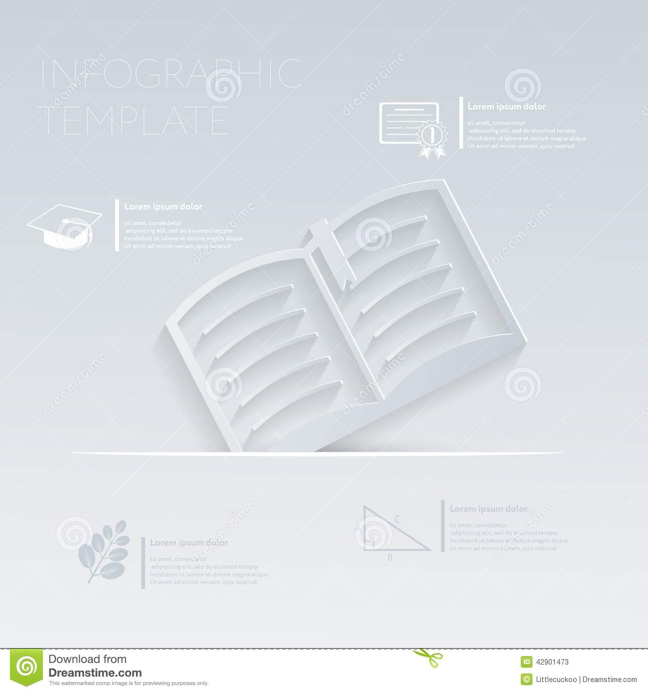 Vector Illustration, Open Book  Template Graphic Or Website