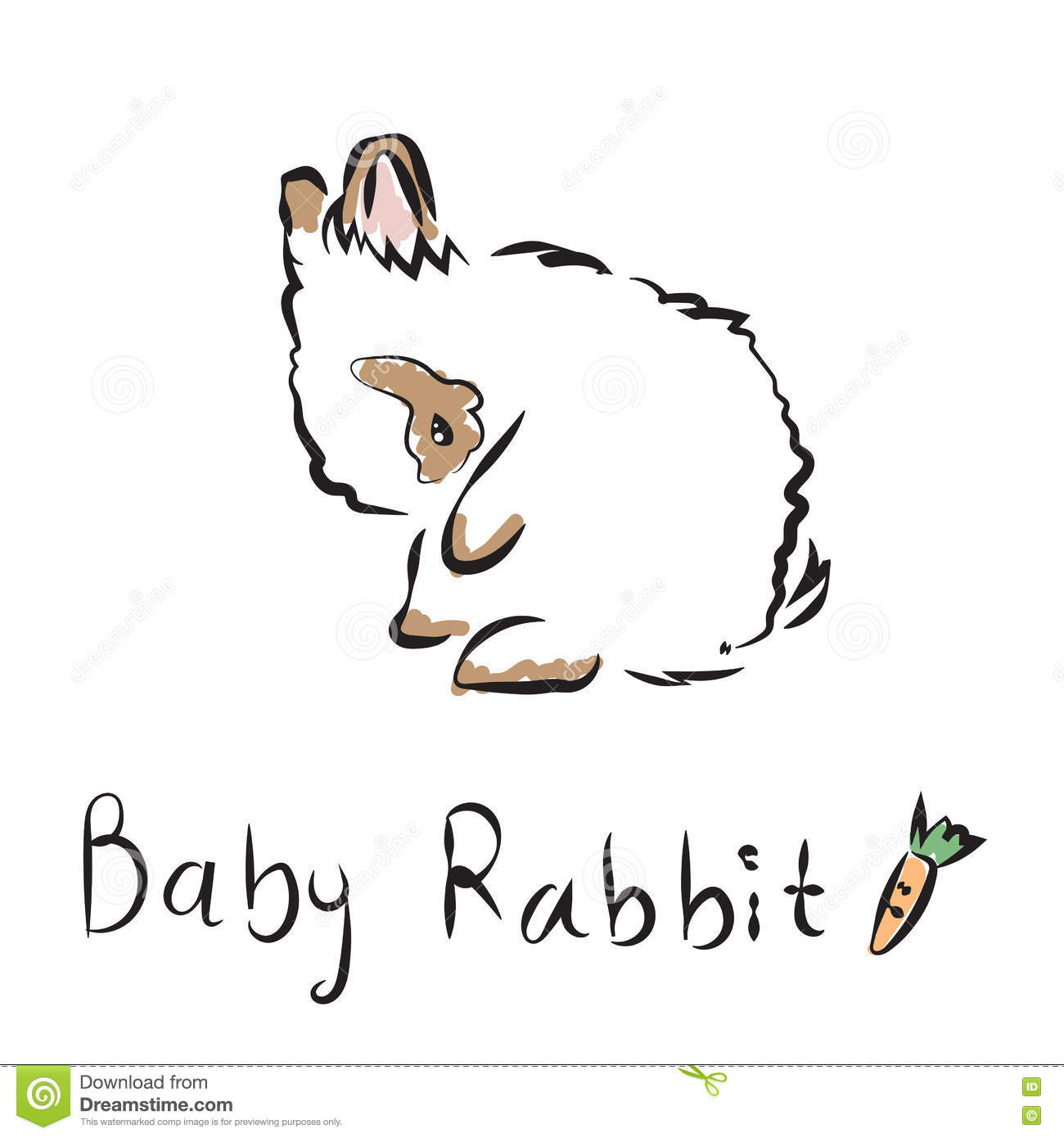 vector illustration of outline lovely bunny on a white background