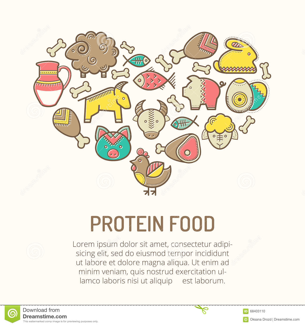 Vector illustration with outlined food icons forming a heart shape