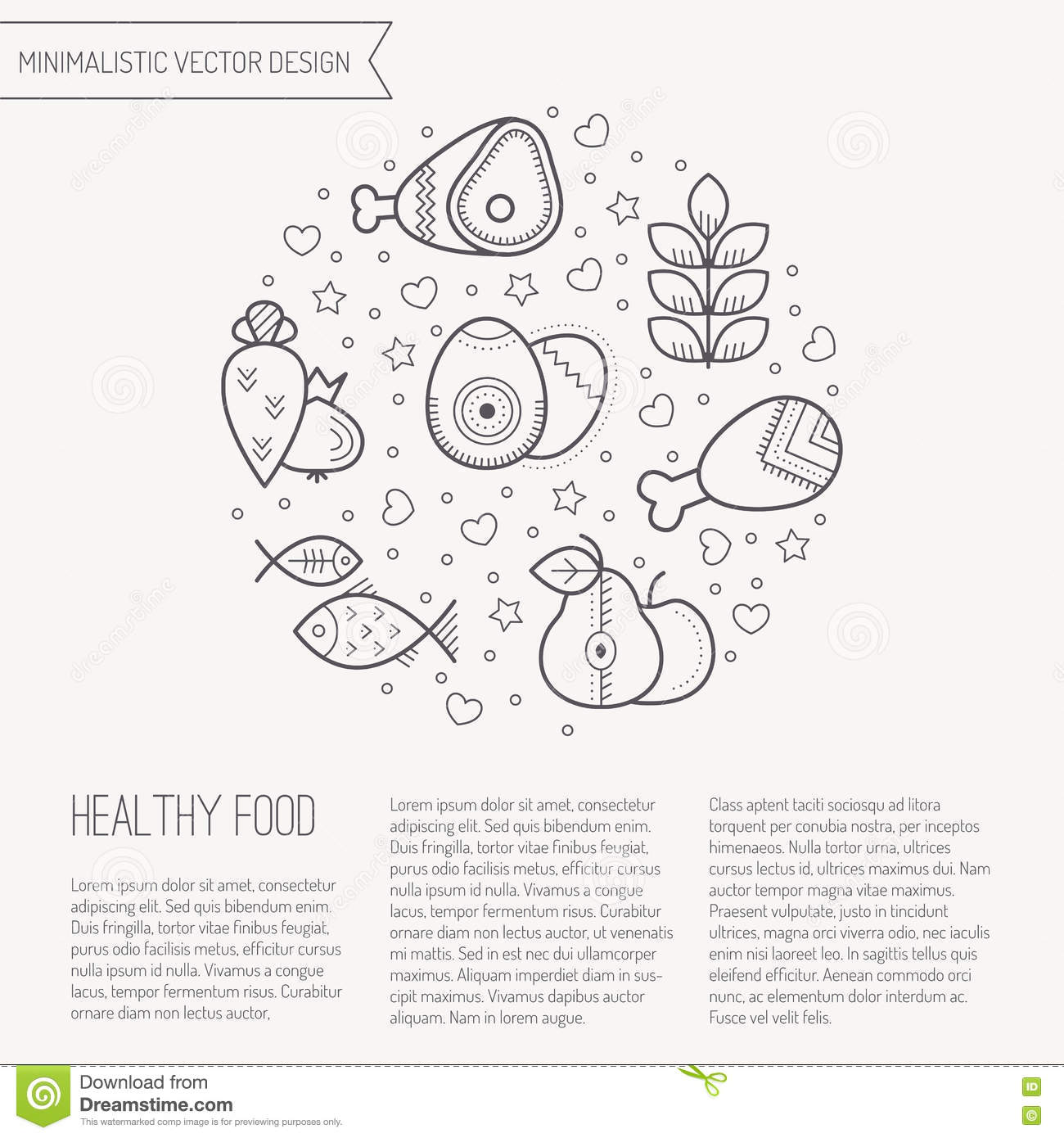 Vector illustration with outlined Healthy food icons forming a circle