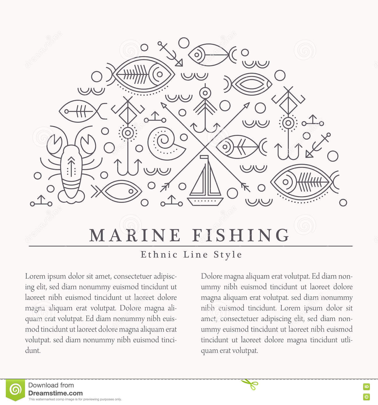 Vector illustration with outlined nautical and fishing signs forming a half-circle