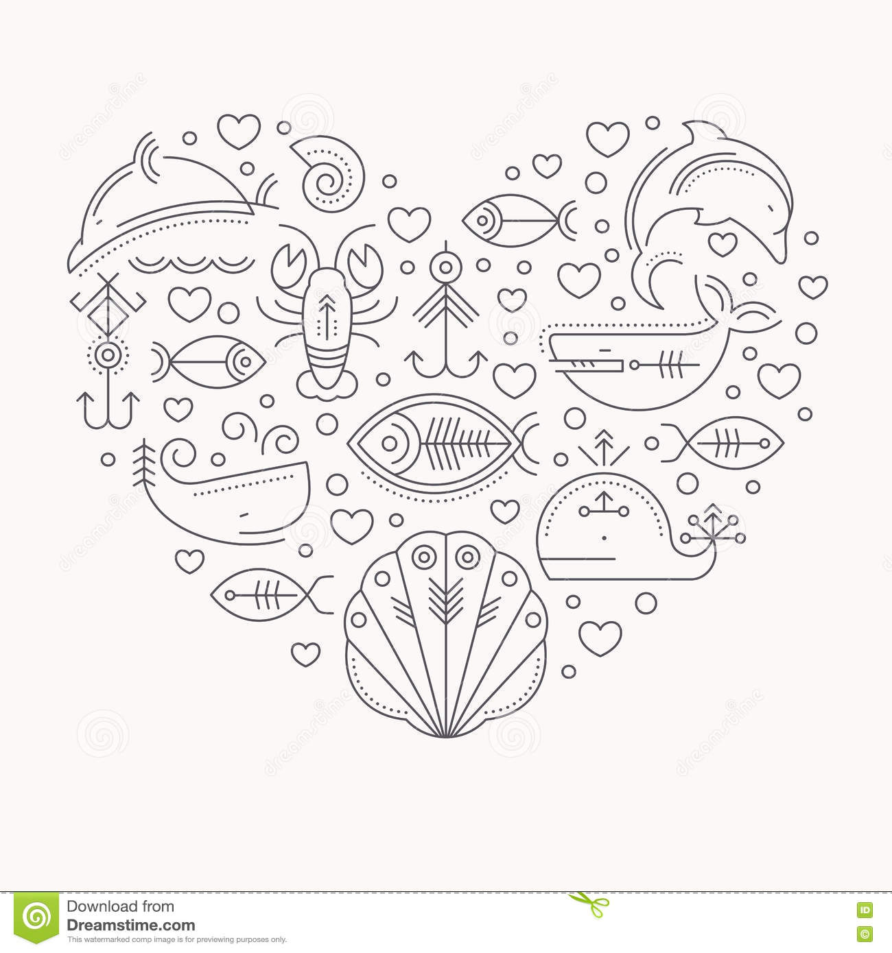 Vector illustration with outlined signs of marine animals forming a heart