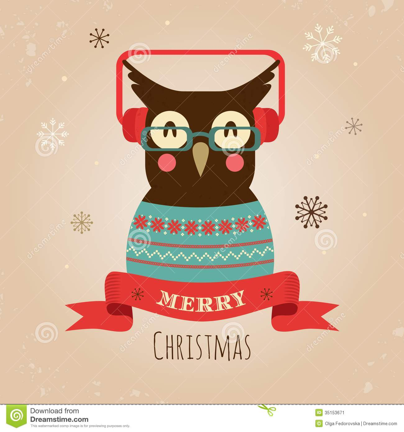 Vector Illustration Of Owl, Merry Christmas Card Stock Vector ...
