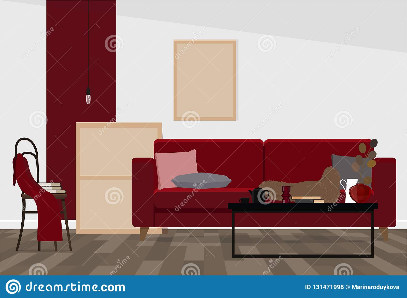 Modern Interior Design Of A Living Room Or Office Space In An
