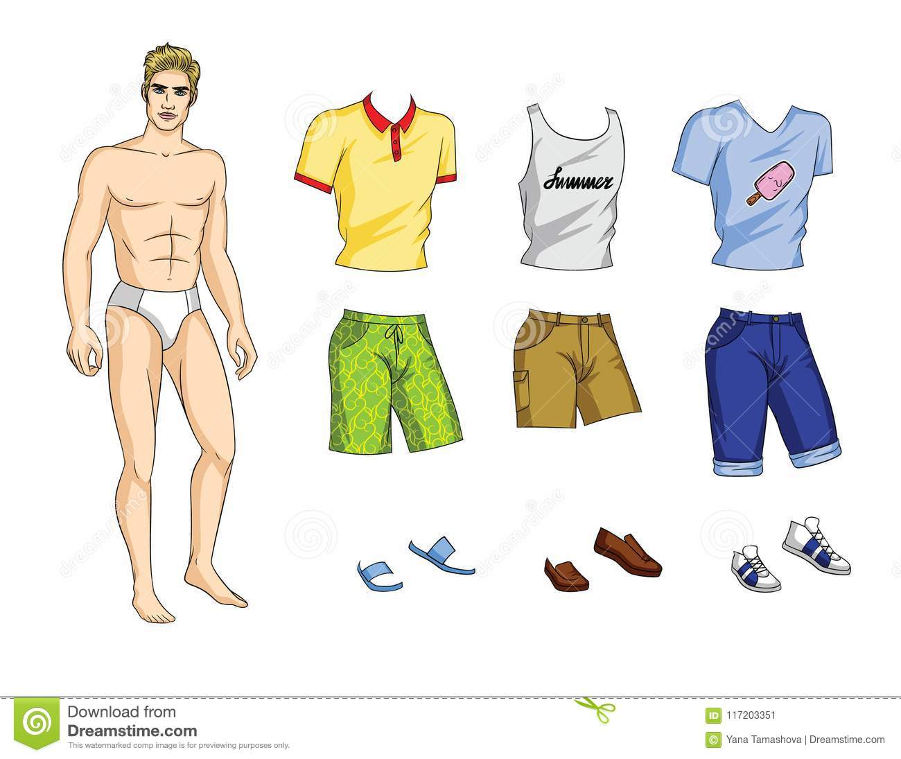 Vector Illustration Of Paper Doll Man With Set Stylish Summer Clothes And Shoes