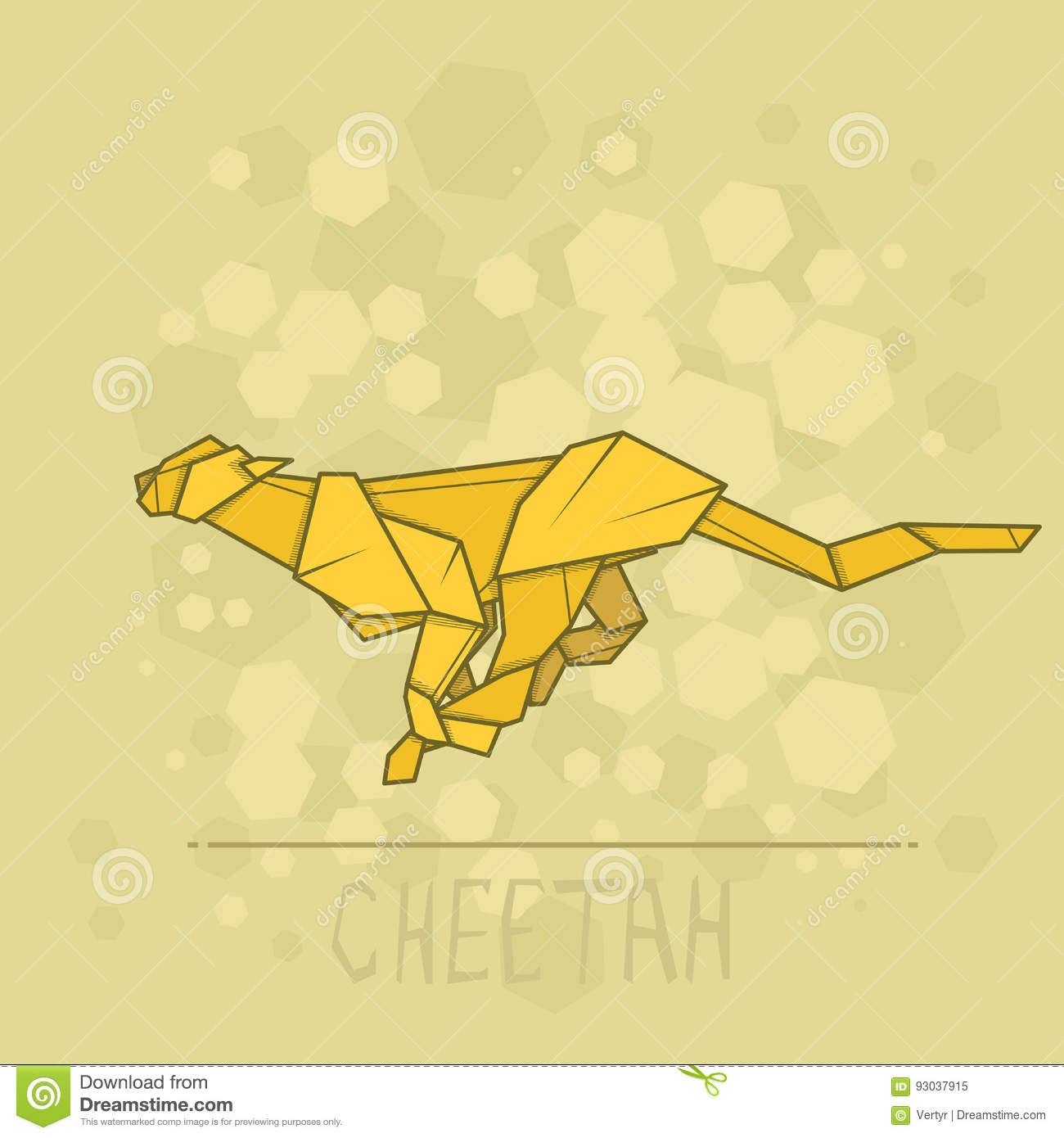 Download Vector Illustration Paper Origami Of Cheetah Stock