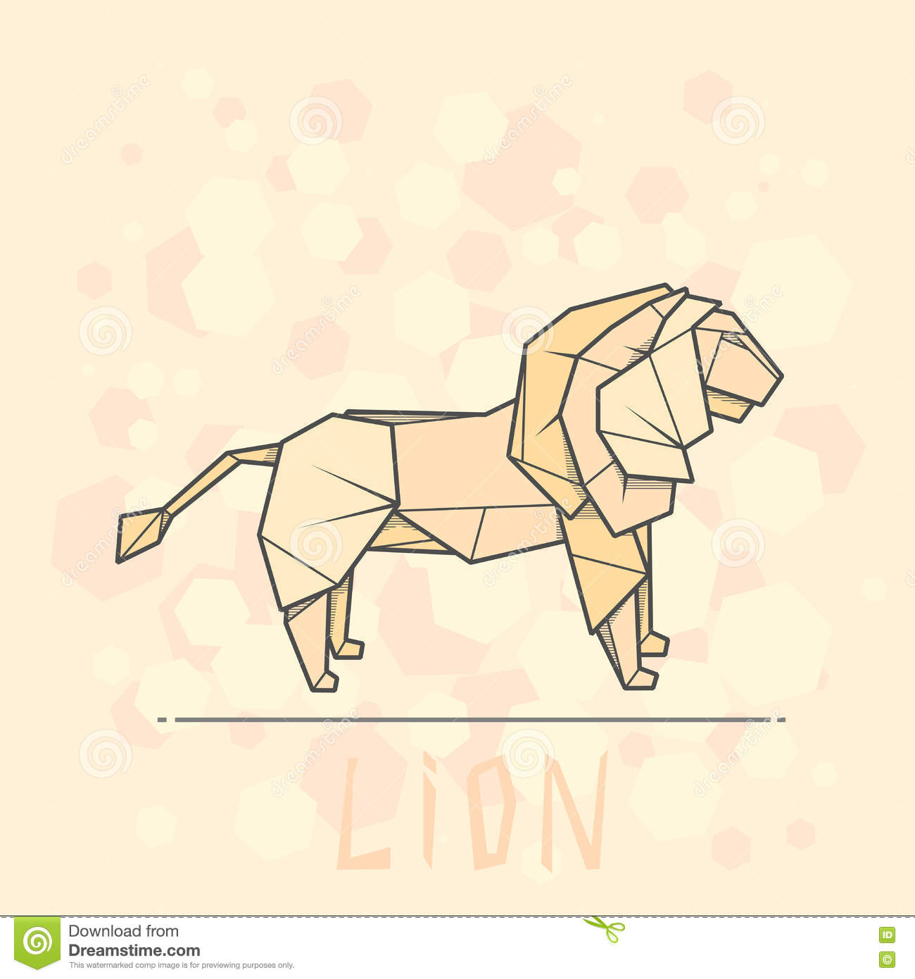 Vector Illustration Paper Origami Of Lion Stock