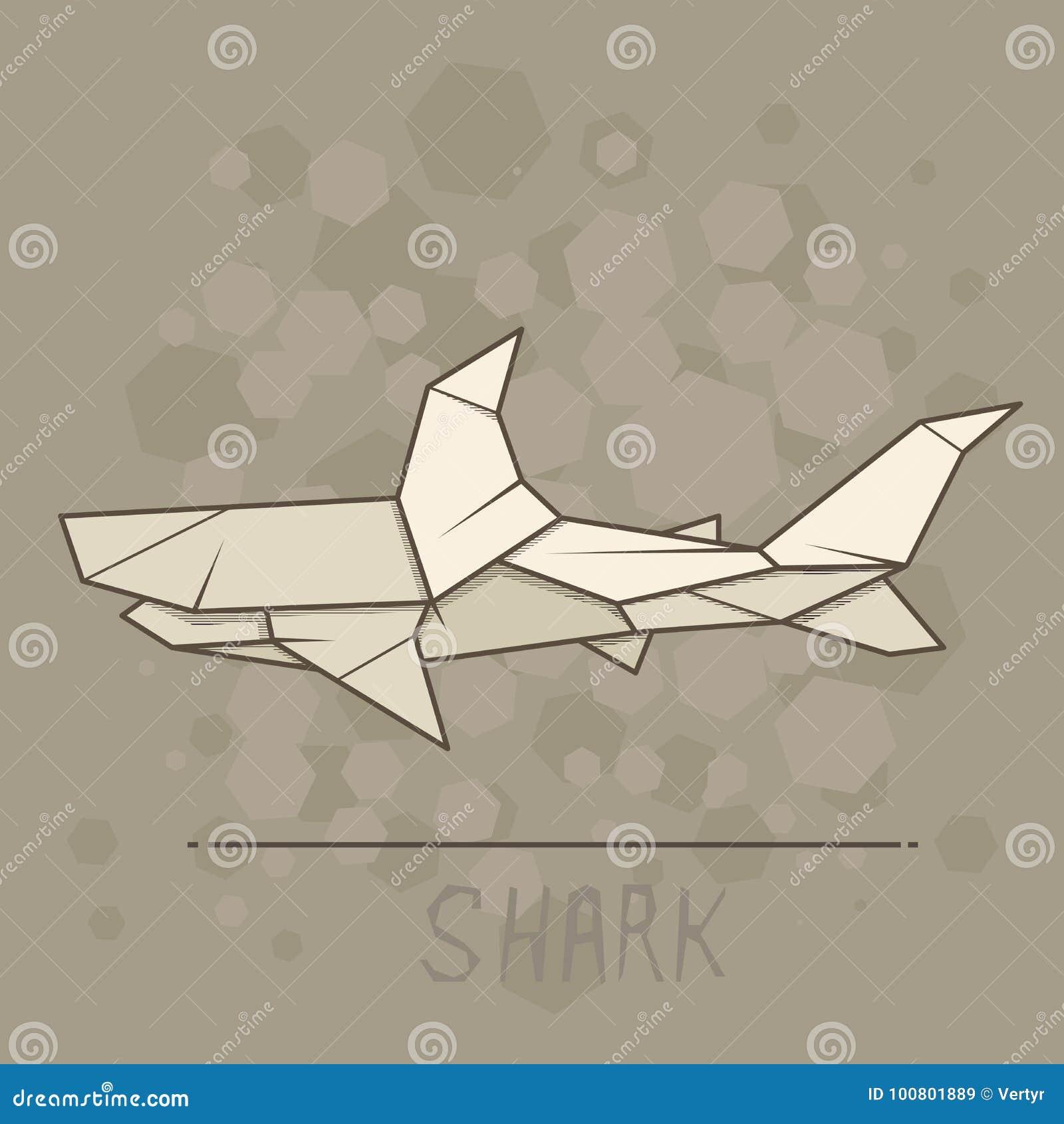 Vector Illustration Paper Origami Of Shark Stock Vector