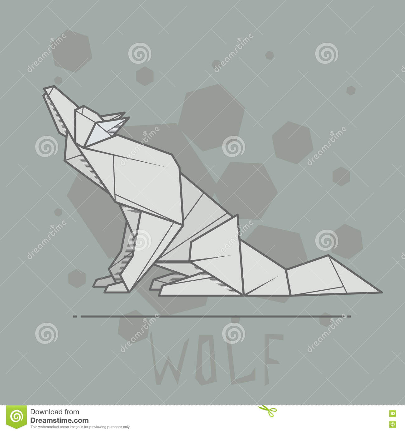 Vector Illustration Paper Origami Of Wolf Stock Vector
