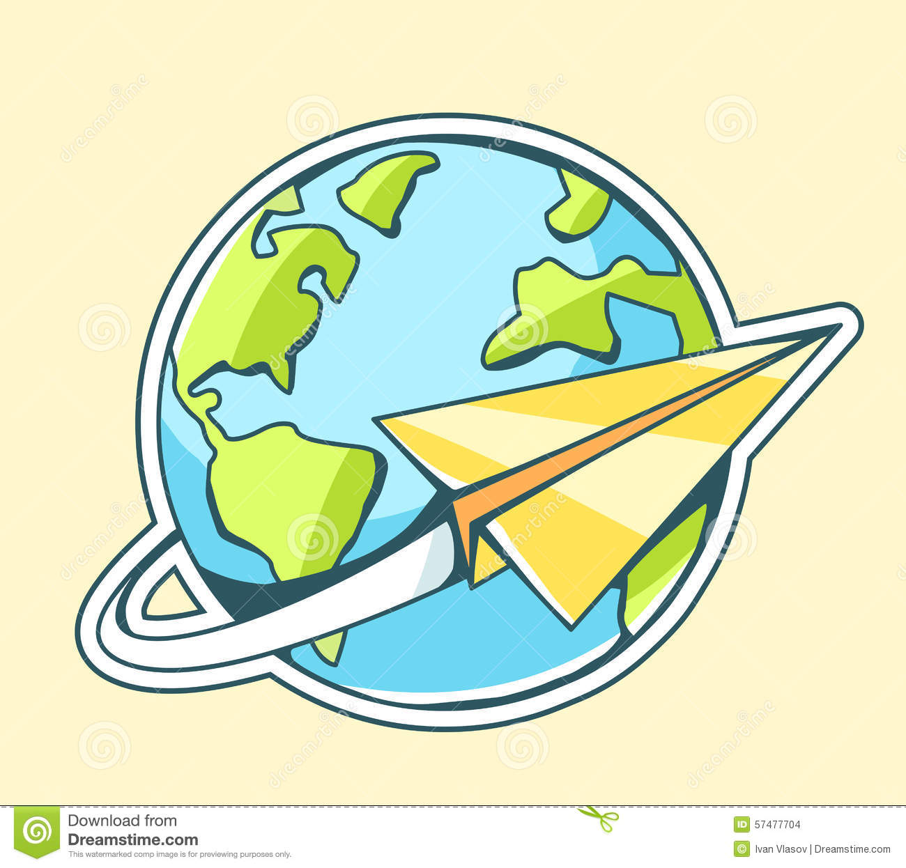 Vector Illustration Of Paper Plane Flying Around Planet Earth Stock