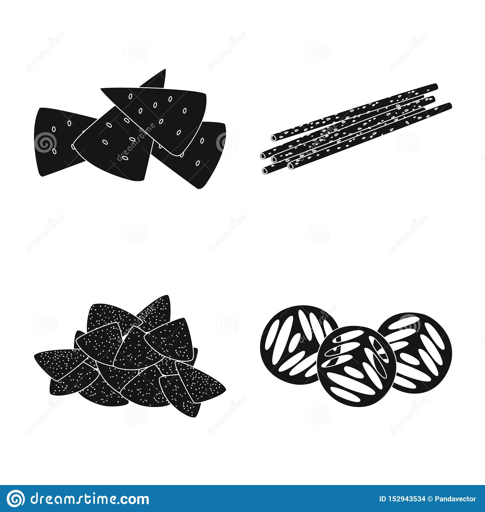 Vector illustration of party and cooking symbol. Collection of party and crunchy stock vector illustration.