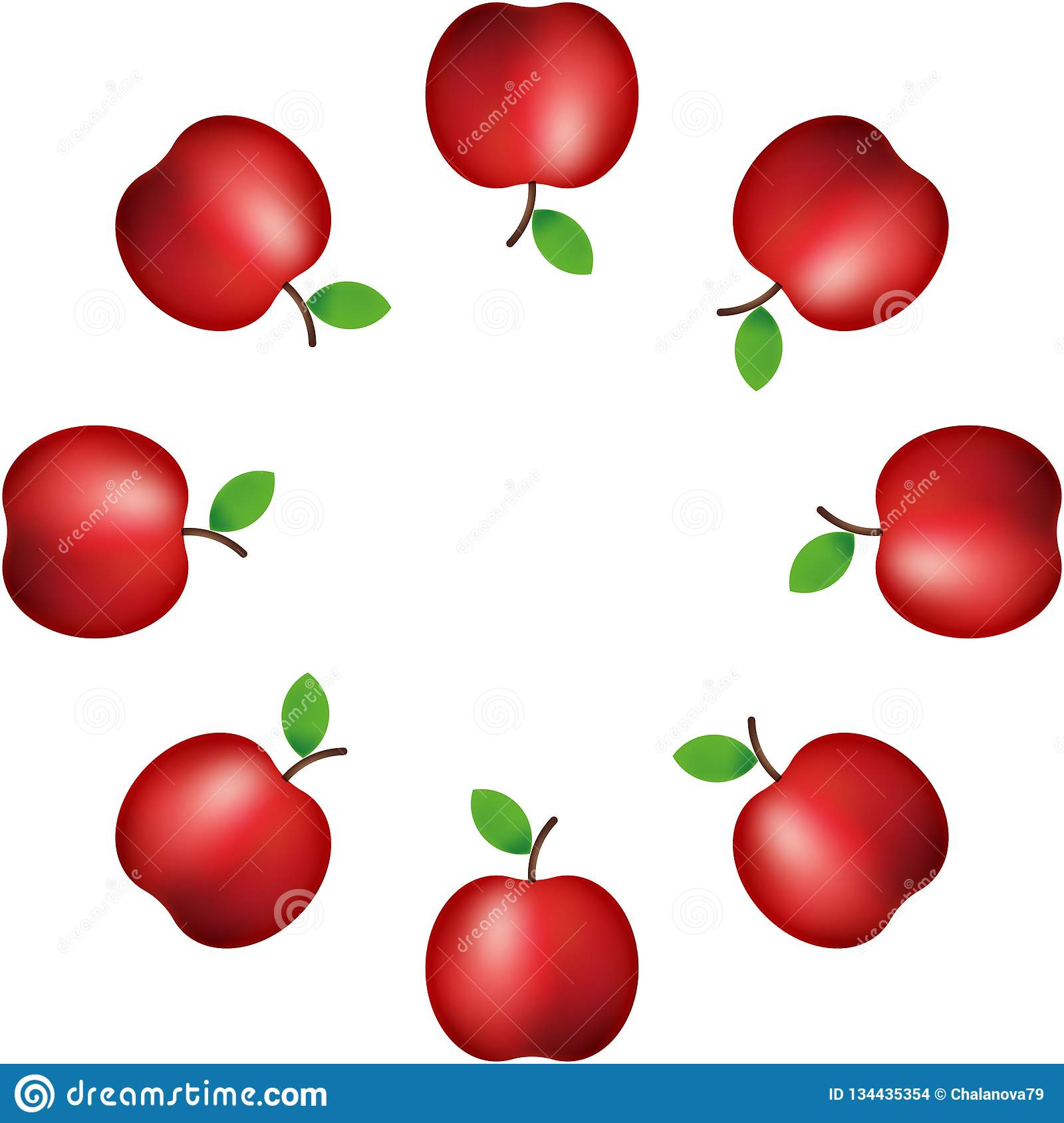 Vector illustration. pattern of realistic red apple on white background Decoration. Banner. ornament