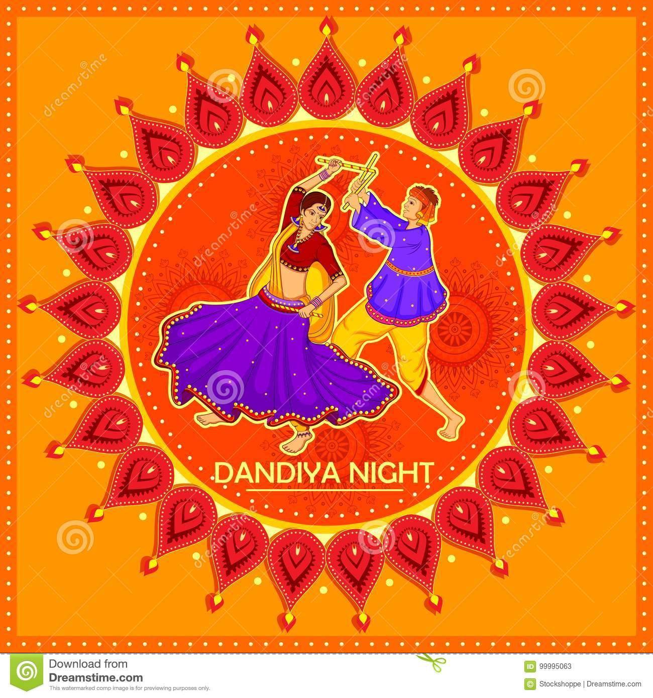People Performing Garba Dance On Poster Banner Design For Dandiya Night Stock Vector Illustration Of Indian Illustration 99995063