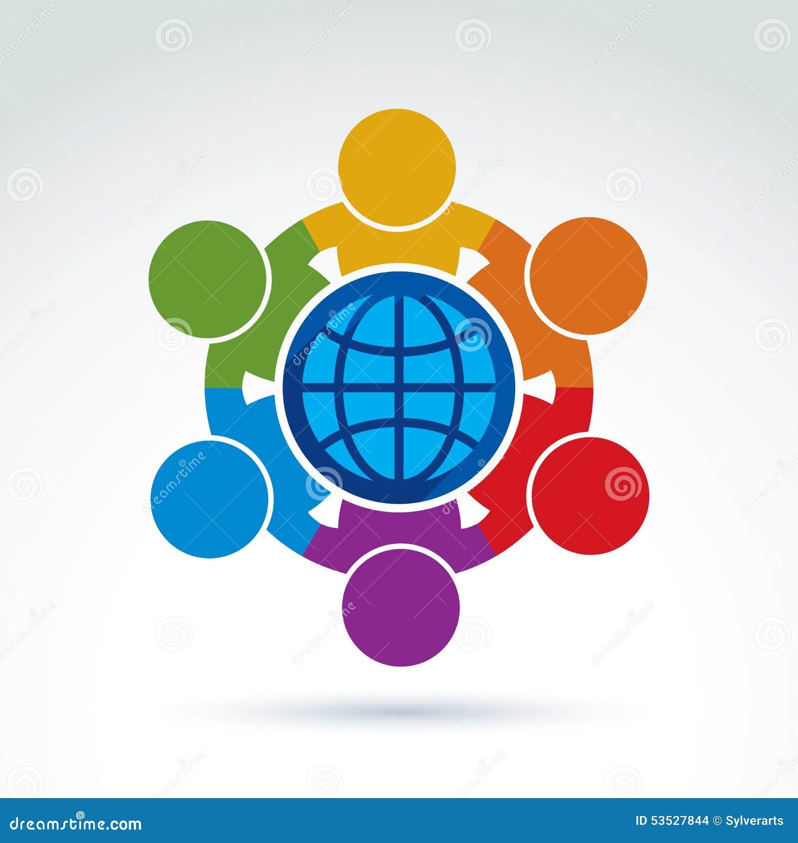 Vector illustration of people standing around a globe sign mana vector illustration of people standing around a globe sign mana biocorpaavc