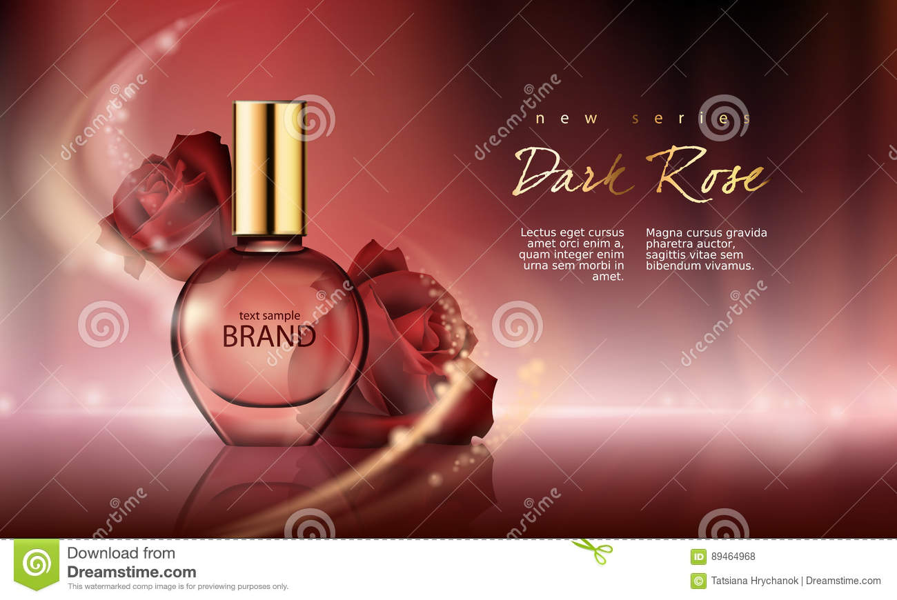 Vector Illustration Perfume In A Glass Bottle On A Wine Red