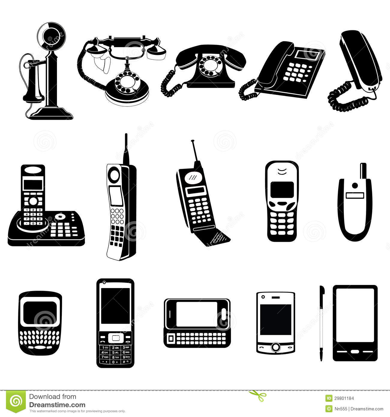 phone evolution icons set stock vector illustration of electronic rh dreamstime com