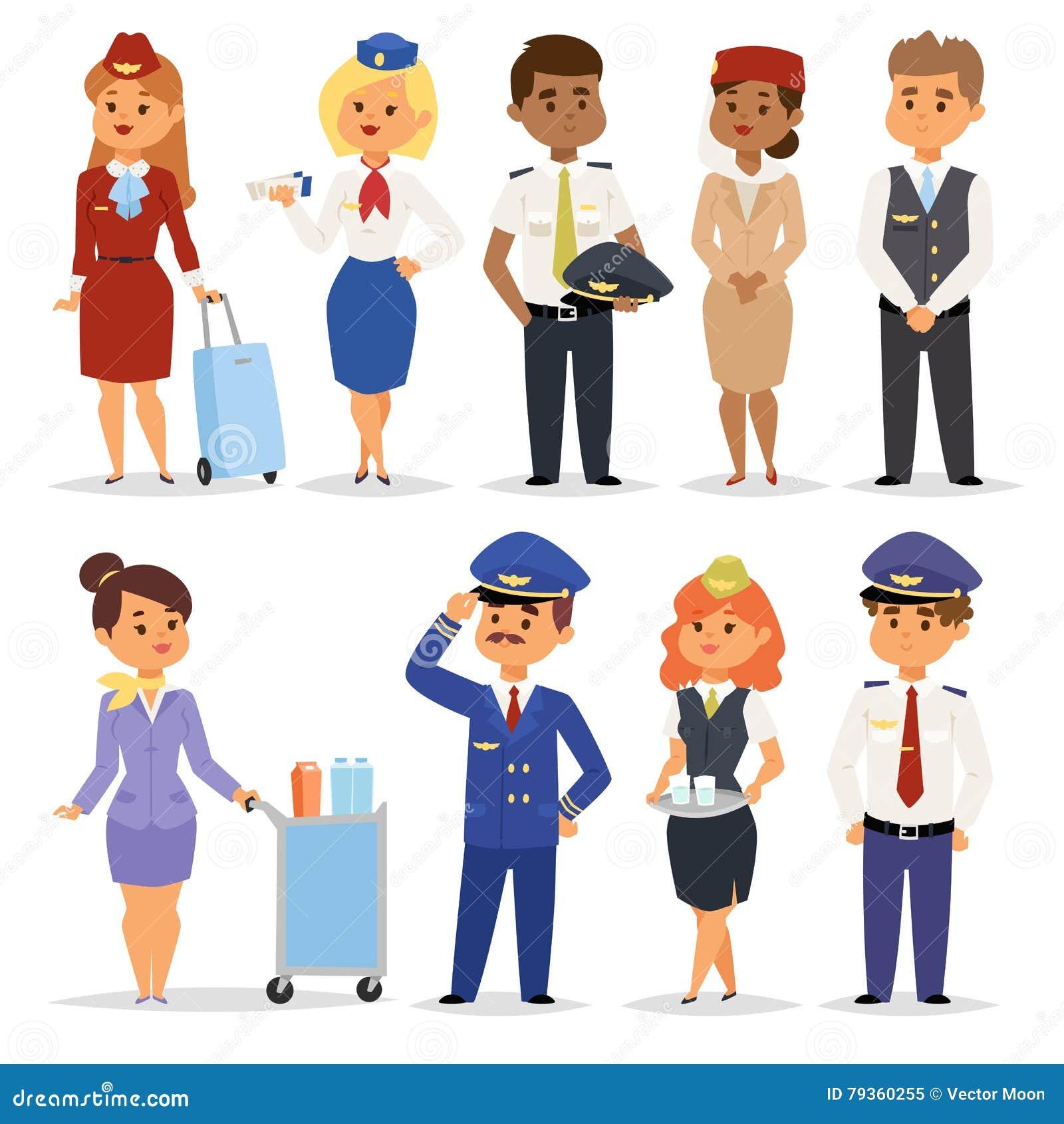 Vector Illustration Pilots Flight Attendants Stock Vector