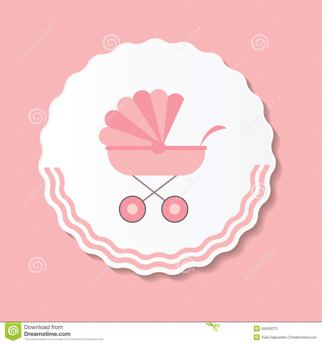 Vector illustration of pink baby carriage for stock