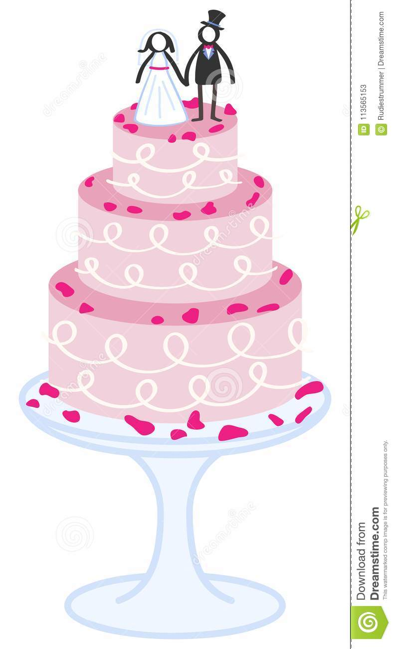 dream interpretation eating wedding cake vector illustration of pink wedding cake with 13730