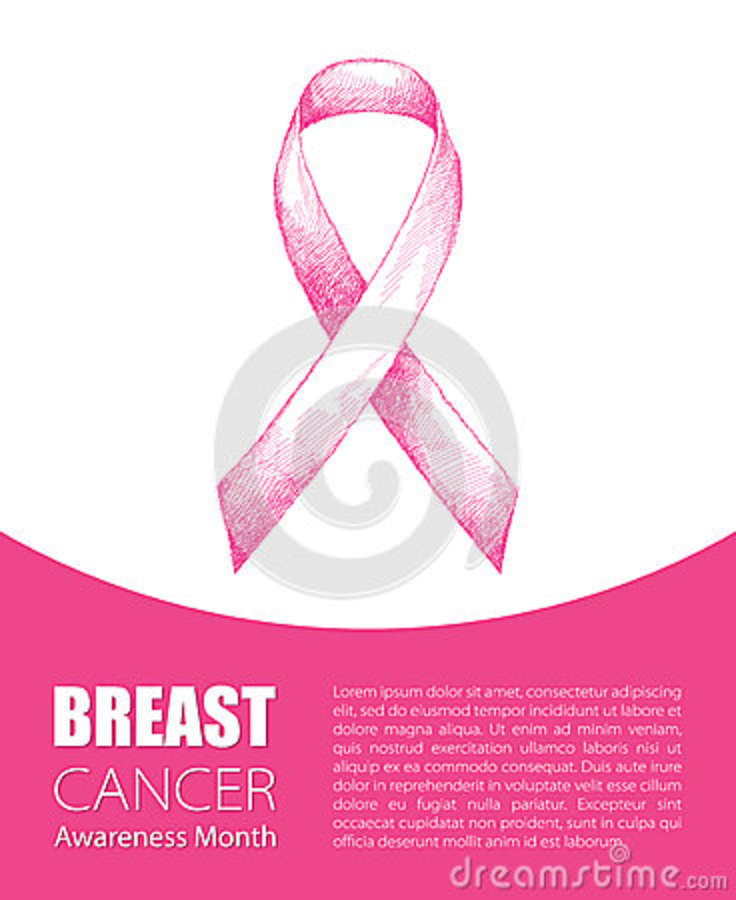 Vector Illustration With Pink Ribbon On White Background Breast