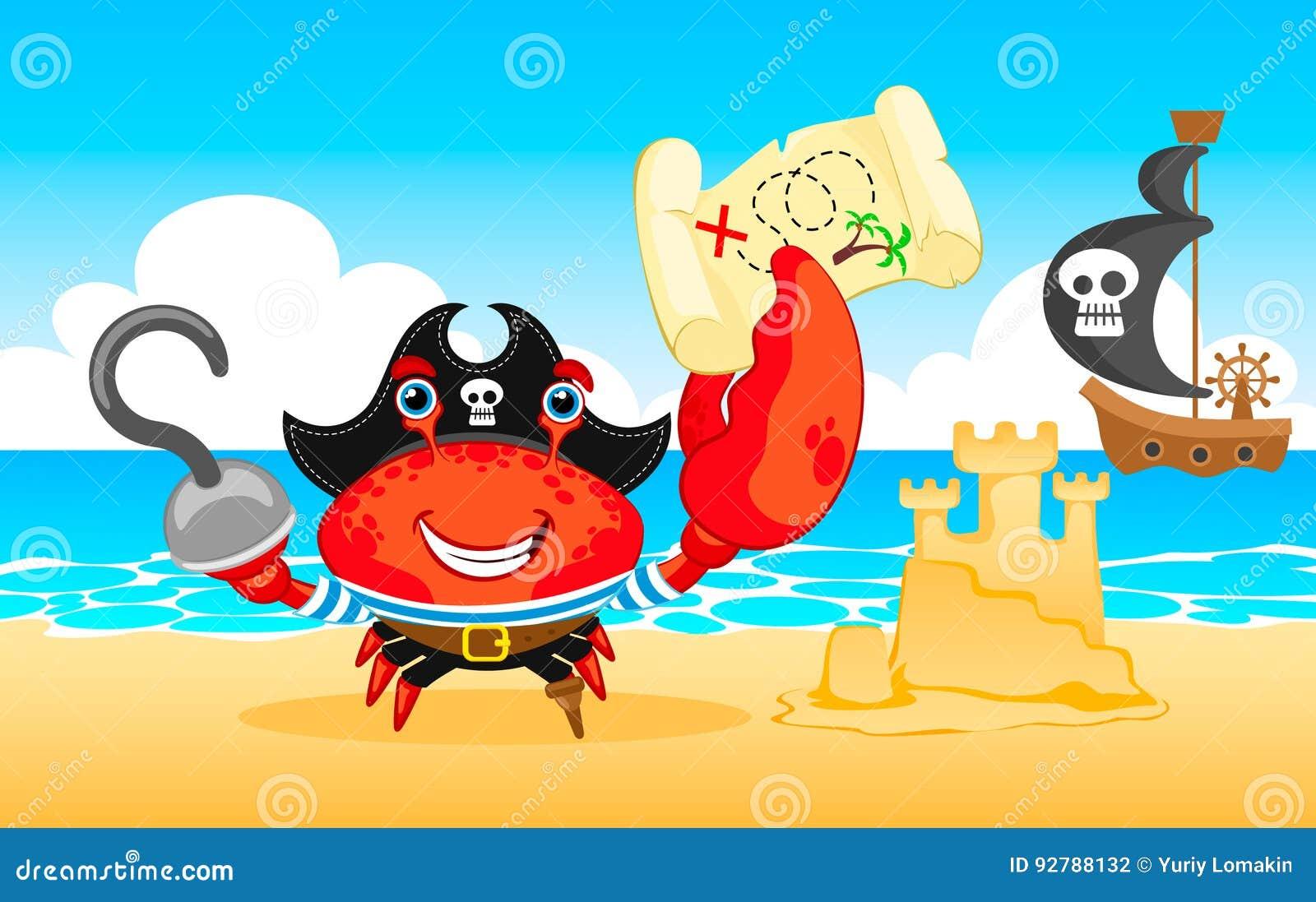 vector illustration pirate crab stock vector illustration of comic