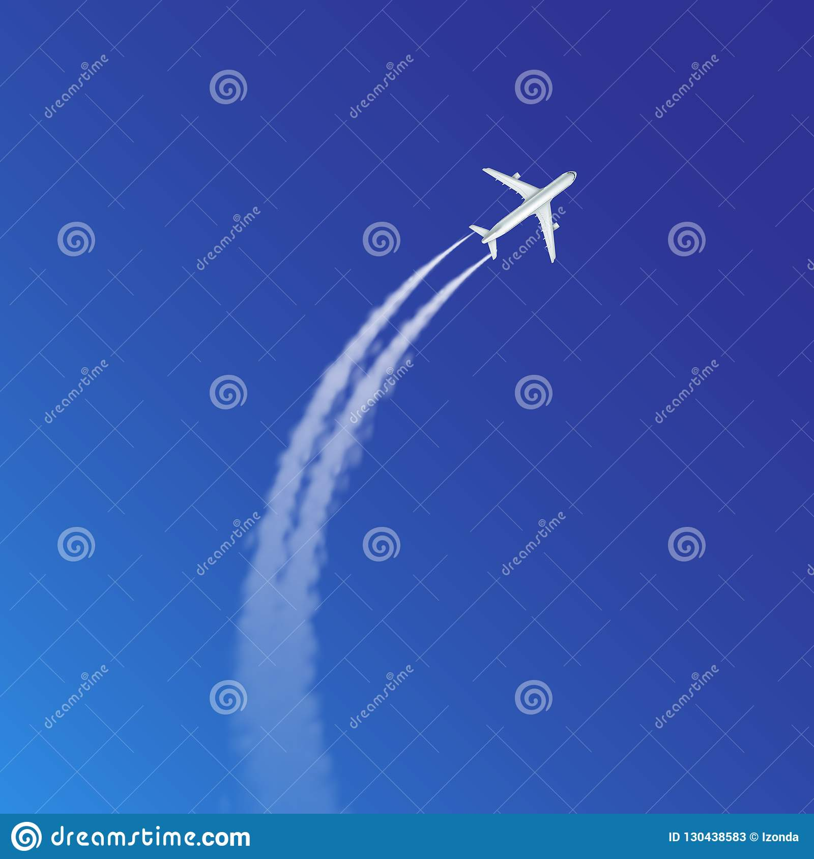 Vector illustration of plane loop and arc track or trails with white smoke on blue sky background