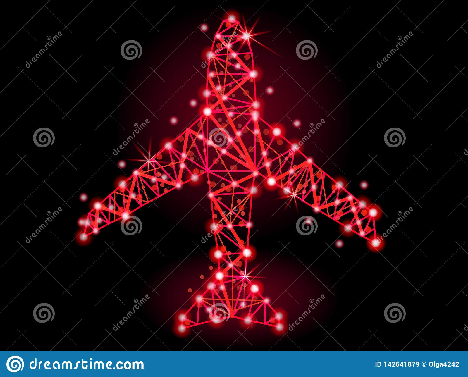 Vector illustration. The plane of the polygonal lines