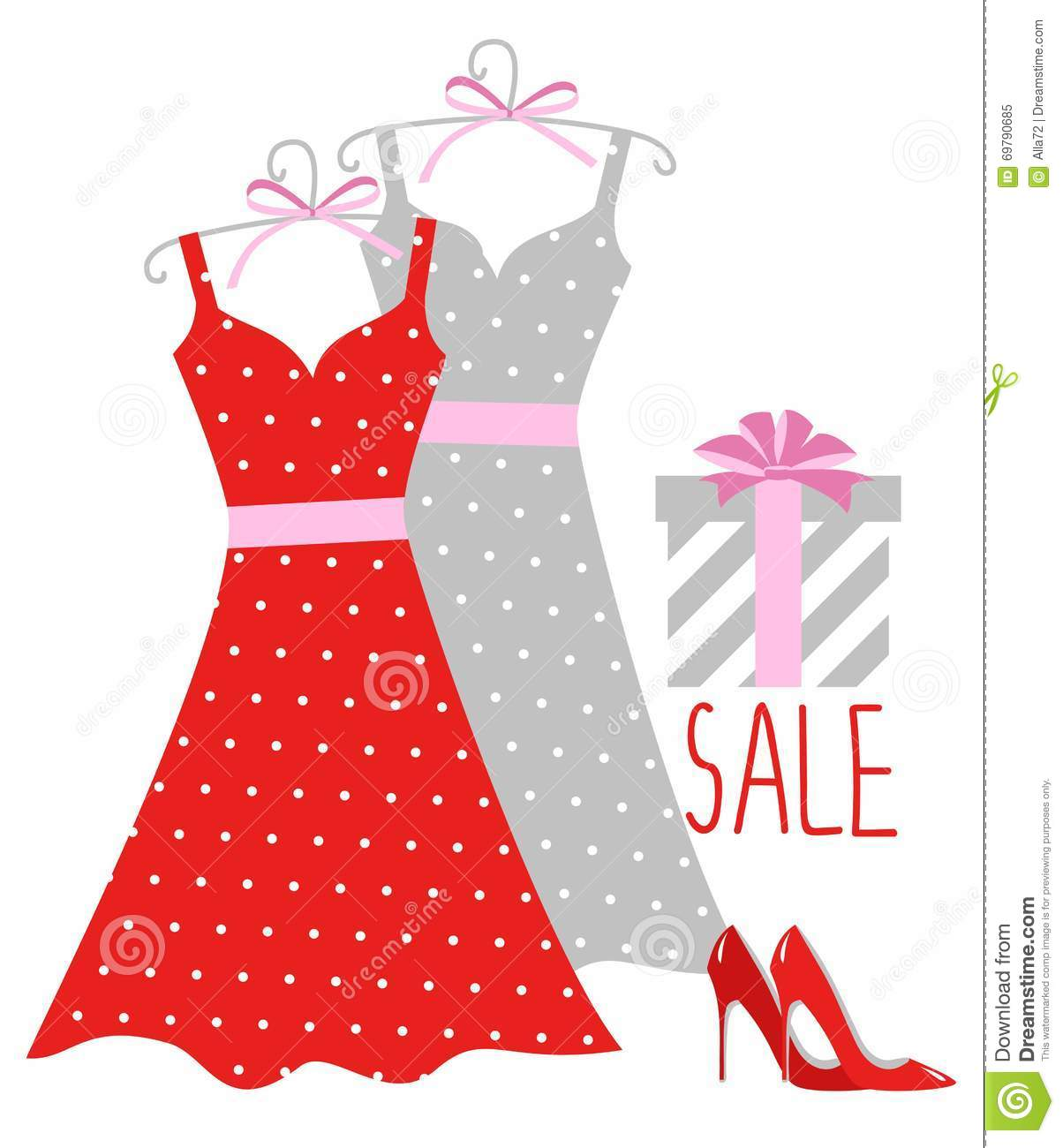 Vector illustration of a polka-dot dress on a hanger, shoes and gift wrapping.