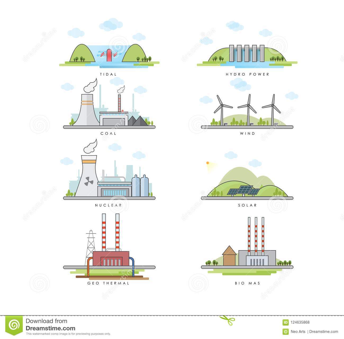 Vector Illustration Of Power Plants Stock Hydro Plant With Diagram Download Solar 124635868