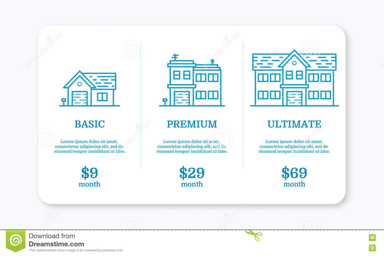 Pricing Plan Web Page Template Table Design Cartoon Vector 72608699