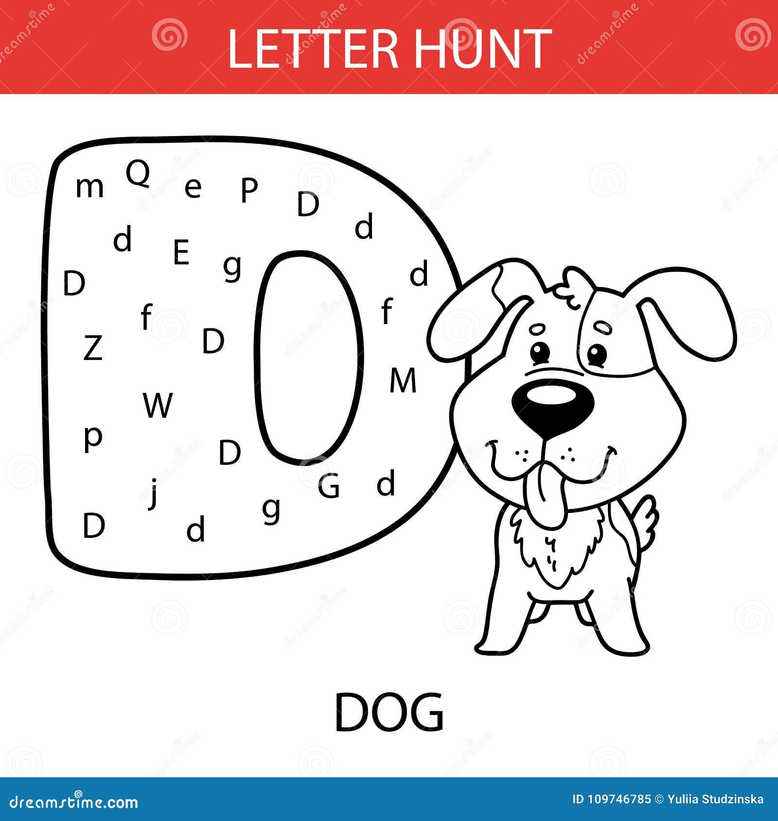 Animal Letter Hunt Puppy Stock Vector Illustration Of English