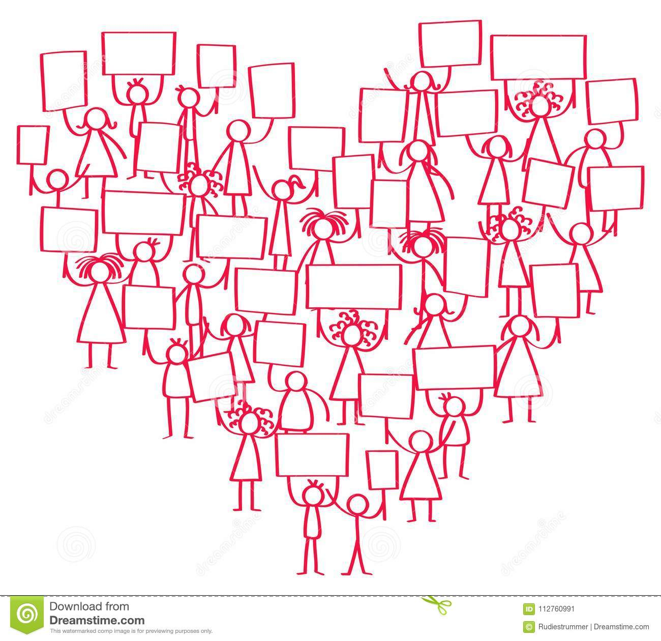 Vector Illustration Of Protesting Red Stick Figures Holding Up