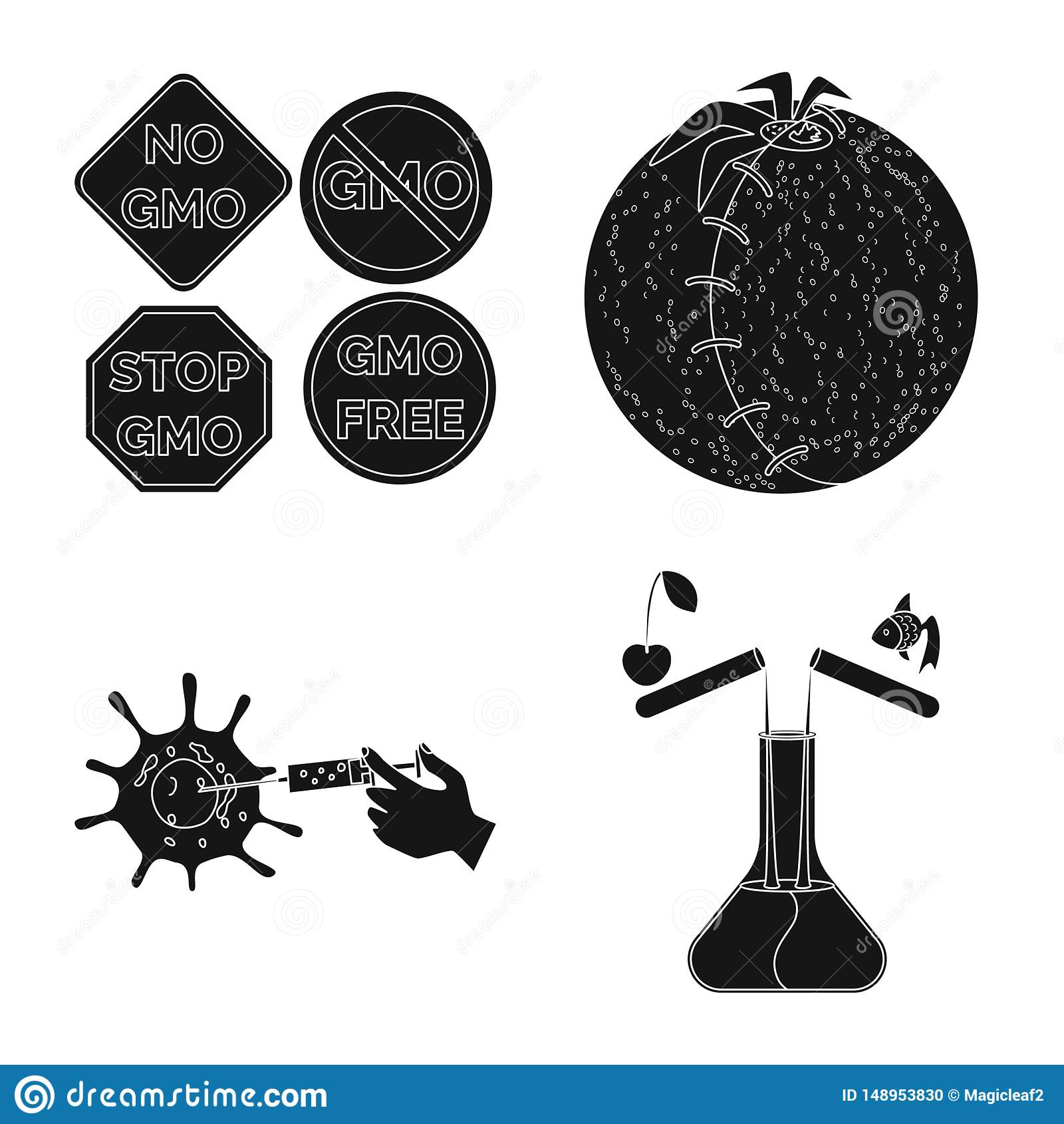 Vector illustration of quality and laboratory symbol. Collection of quality and genetically vector icon for stock.