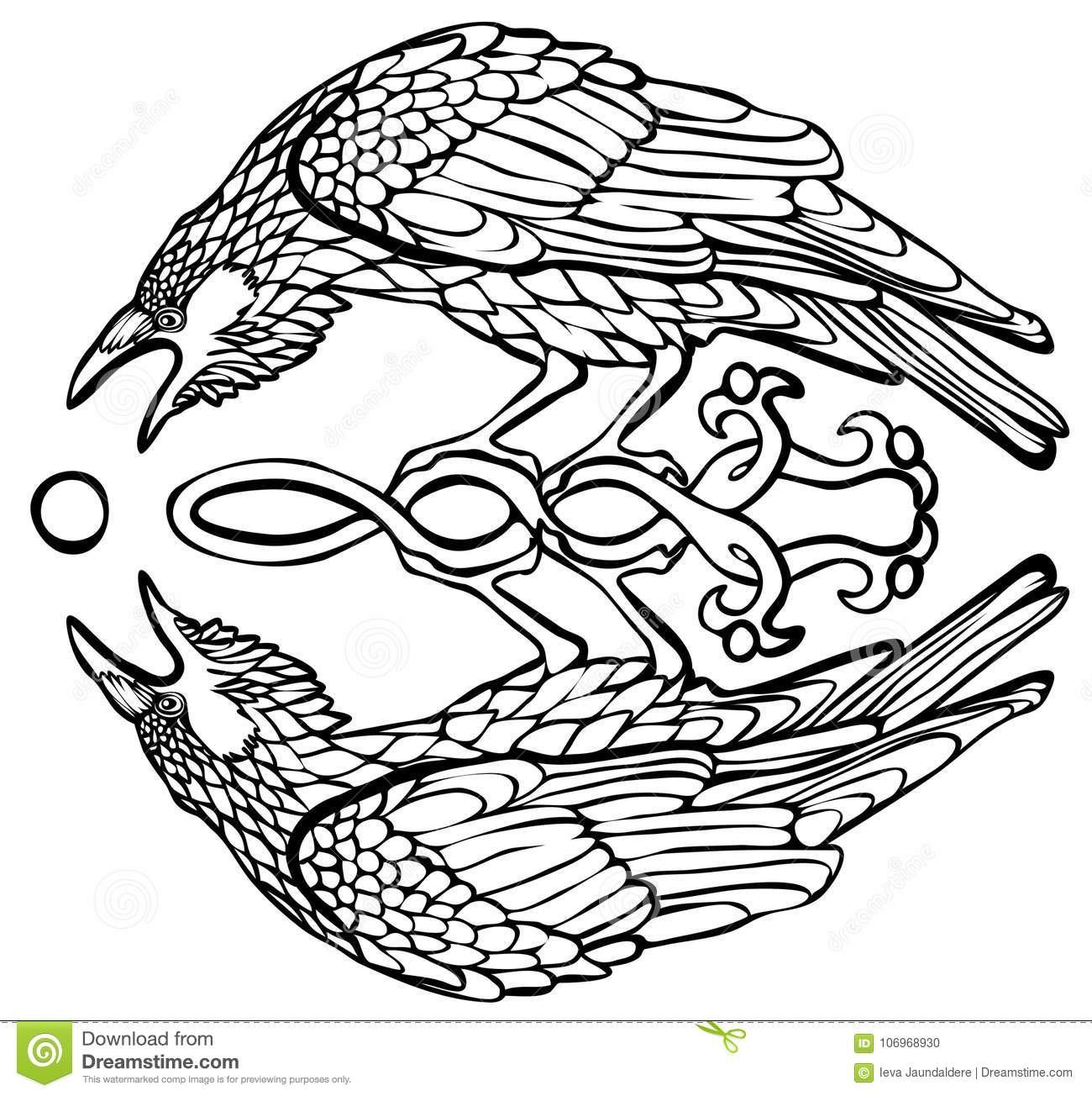 Vector illustration of raven catching sun reflection