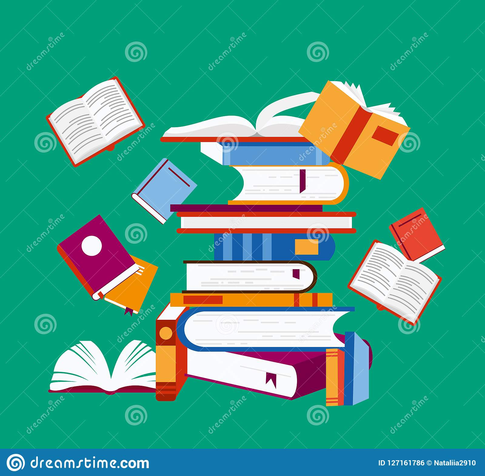 Vector illustration of reading concept. A lot of books on green background, poster in flat cartoon design.