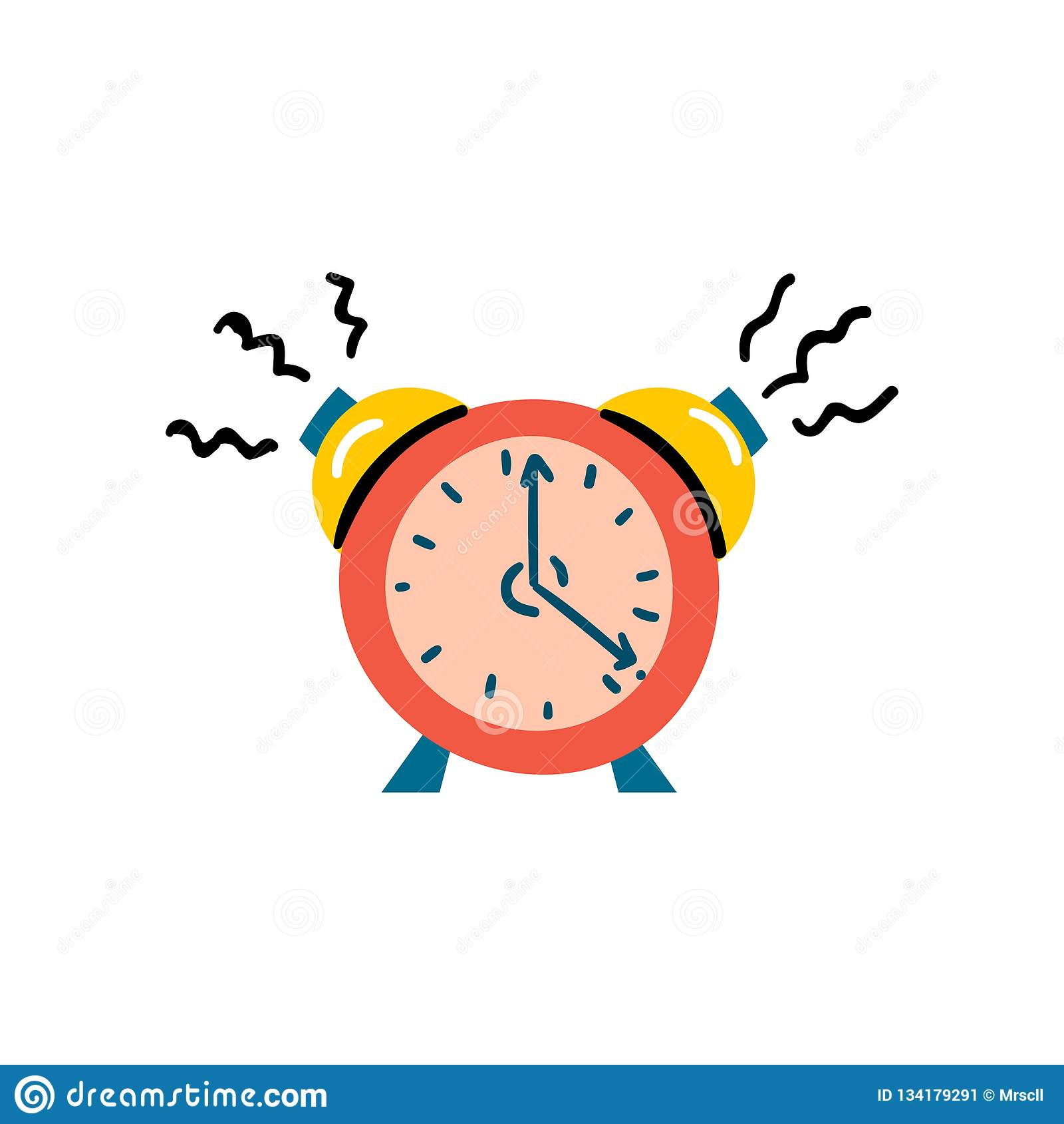 Vector Illustration With Red Alarm Clock Icon Stock Illustration