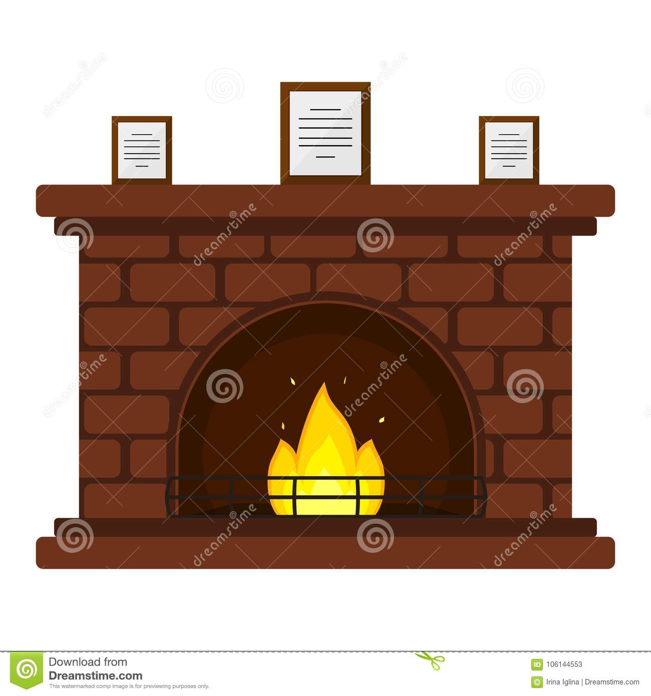 Brick Fireplace Stock Illustrations 4 333 Brick Fireplace Stock