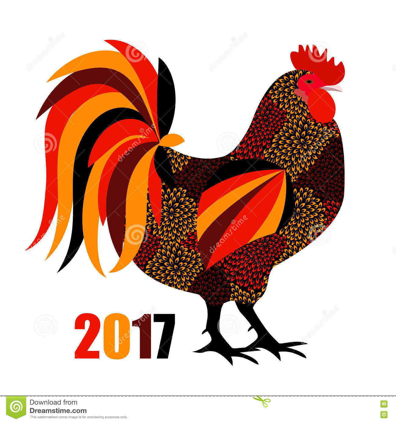 Chinese Calendar Illustration : Vector illustration of red fire rooster symbol