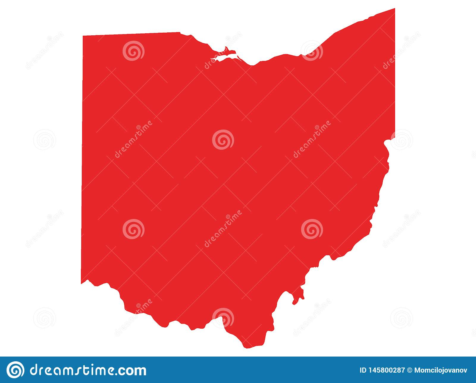Red Map Of Us State Of Ohio Stock Vector Illustration Of Colorado - Ohio-on-us-map