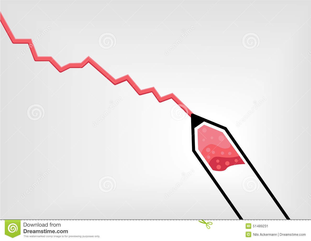 Vector illustration of red pen or pencil drawing a declining vector illustration of red pen or pencil drawing a declining negative growth curve nvjuhfo Choice Image