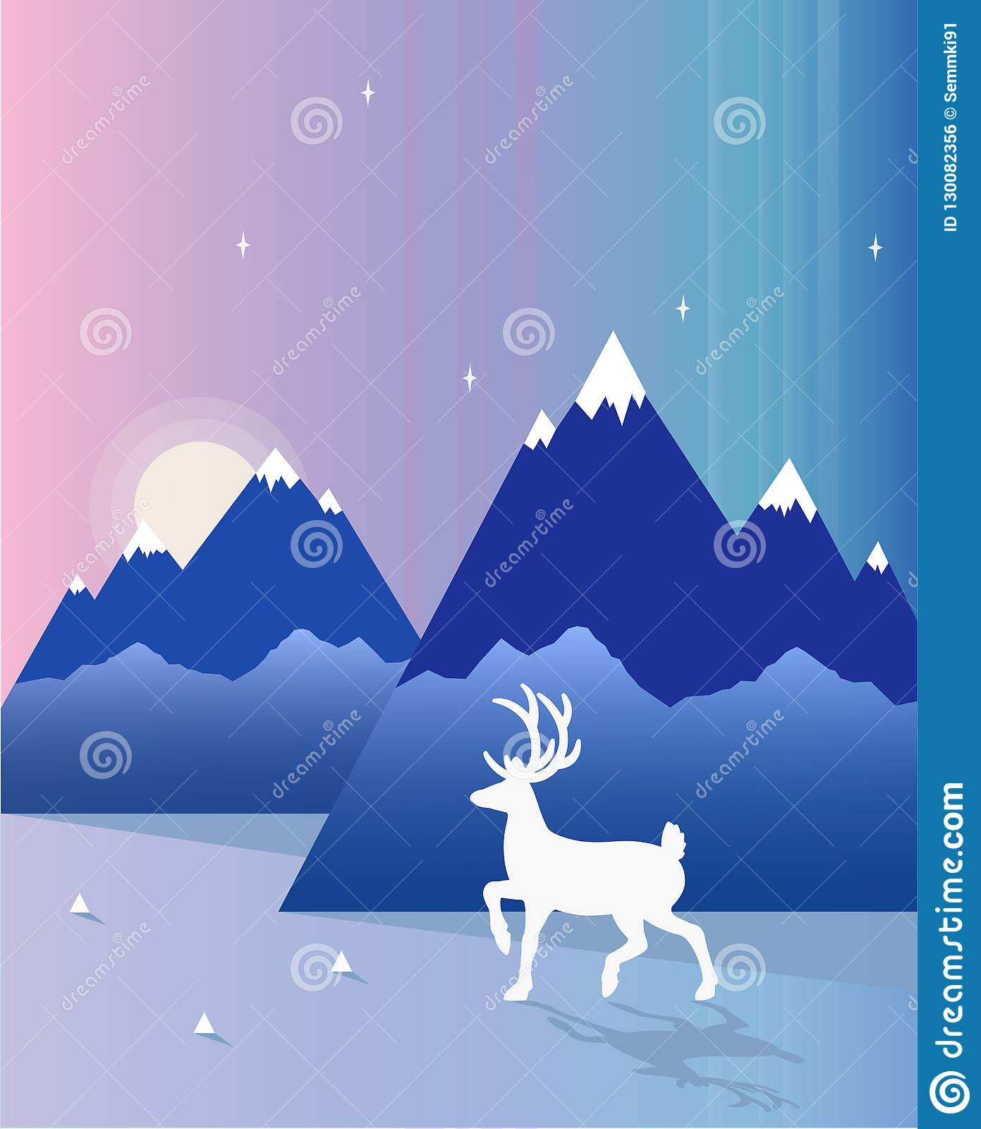 Vector illustration of reindeer in the mountains, flat design